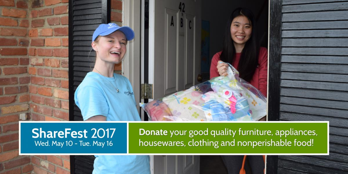ShareFest 2016: Donate your good quality furniture, appliances, housewares, clothing and nonperishable food!